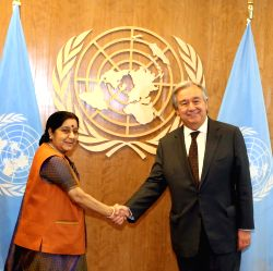 New York: External Affairs Minister Sushma Swaraj meeting United Nations Secretary General Antonio Guterres at the United Nations in New York on Sept. 23, 2017.