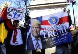 NEW YORK, Feb. 20, 2017 - Supporters of U.S. President Donald Trump shout slogans outside the site of