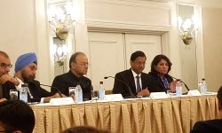 New York: Union Finance Minister Arun Jaitley at an investors roundtable jointly organised by the Confederation of Indian Industry and the US-India Business Council in New York on Oct 10, 2017.