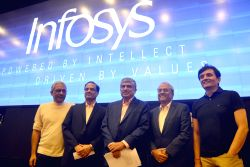 Newly appointed Non Executive Chairman of Infosys Nandan Nilekani and interim CEO UB Pravin Rao during a press conference of Infosys, in Bengaluru on Aug 25, 2017.