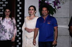 Nita Ambani owner of Mumbai Indians along with former Indian cricket player and Mumbai Indians icon player Sachin Tendulkar with his wife Anjali Tendulkar during the party organised to ...