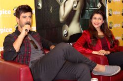 Noida: Mannara and Karanvir Sharma during a press meet