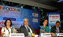 NSE Managing Director and CEO Chitra Ramkrishna, SBI Chairman Arundhati Bhattacharya, Software Technology Parks of India Director General Omkar Rai and TRAI Chairman RS Sharma during INFOCOM ...