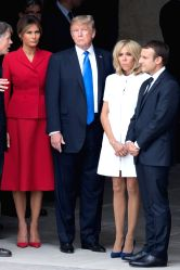 PARIS, July 13, 2017 - French President Emmanuel Macron (1st R) and his wife Brigitte Macron (2nd R), and U.S. President Donald Trump (3rd R) and his wife Melania Trump, attend a welcome ceremony at ...