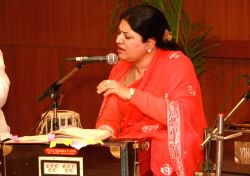 Performance by Ghazal singer Anita Singhvi at the launch of website''Rekhta.org'' for Urdu lovers,in New Delhi.(Photo:IANS/Amlan)