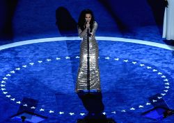 PHILADELPHIA, July 29, 2016 - Singer Katy Perry performs on the last day of the 2016 Democratic National Convention in Philadelphia, Pennsylvania, the United States, July 28, 2016.
