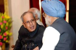 President Pranab Mukherjee with former prime minister Dr Manmohan Singh during the 100th birthday celebration of former President of India Giani Zail Singh at Rashtrapati Bhawan in New ...