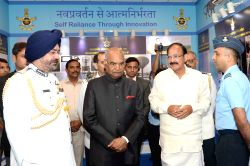 President Ram Nath Kovind, Vice President M. Venkaiah Naidu and Air Chief Marshal B.S. Dhanoa at the 'At Home' organised on 85th anniversary of Indian Air Force (IAF) at Air House in ...