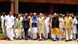 Prime Minister Narendra Modi and NDA presidential candidate Ram Nath Kovind with BJP leaders Venkaiah Naidu, LK Advani, Amit Shah,  Telugu Desam Party (TDP) president N. Chandrababu Naidu ...