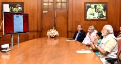 Prime Minister Narendra Modi during the joint dedication of renovated stadium in Jaffna, Sri Lanka, through video conferencing, in New Delhi on June 18, 2016. The Union Minister for ...