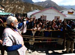 Prime Minister Narendra Modi interacts with the people at Kedarnath, in Uttarakhand on Oct 20, 2017.
