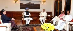 Prime Minister Narendra Modi meets the former Prime Minister, Dr. Manmohan Singh and the Congress President Sonia Gandhi, in New Delhi on Nov 27, 2015. Also seen Union Minister for ...