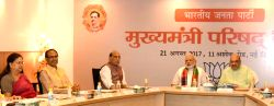 Prime Minister Narendra Modi, Union Home Minister Rajnath Singh and BJP chief Amit Shah attend the meeting of Chief Ministers and Deputy Chief Ministers of the BJP-ruled states to discuss ...
