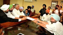 Punjab Congress president Sunil Jakhar files his nomination papers to contest Gurdaspur Lok Sabha Bye Elections at Gurdaspur on Sept 22, 2017. Also seen Punjab Chief Minister Capt ...