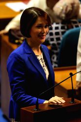 QUEZON CITY, July 25, 2016 - Bataan 1st District Representative Geraldine Roman attends the opening of the 17th Congress of the Philippines at the Batasang Pambansa in Quezon City, the Philippines, ...