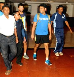 Ranchi: MS Dhoni at the JSCA International Stadium Complex