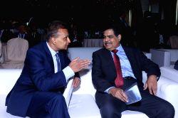 Reliance Group Chairman Anil Ambani with SEBI Chairman Ajay Tyagi during a programme organised by Association of Mutual Funds in India (AMFI) in Mumbai.