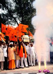 Right Wing Hindu activists stage a demonstration against Supreme Court's ban on the sale of fire crackers in Delhi and NCR this Diwali, in New Delhi, on Oct 13, 2017. The Supreme Court ...