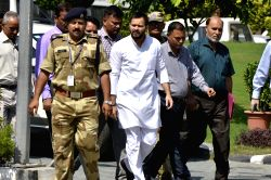 RJD leader Tejashwi Yadav arrives to appear before CBI in connection with the ongoing probe into the 2006 IRCTC hotel case at CBI Headquarters in New Delhi, on Oct 6, 2017.
