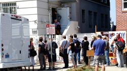 SAN FRANCISCO, Sept. 1, 2017 - People wait to enter the visa office of the Russian Consulate General in San Francisco Aug. 31, 2017. Russia has been ordered to close its consulate general in San ...