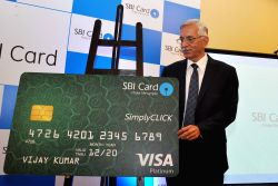 SBI Card CEO Vijay Jasuja at the launch of Simply CLICK - a credit card in Kolkata, on Sep 23, 2015.