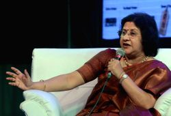 SBI Chairman Arundhati Bhattacharya addresses during a session on `The War Within - Being A Woman` at 40th International Kolkata Book Fair in Kolkata on Feb. 5, 2016.