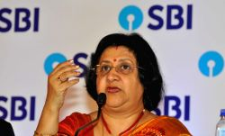 SBI Chairman Arundhati Bhattacharya addresses a press conference to announce last quarter of 2016-17 fiscal, in Kolkata on May 19, 2017.