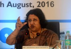 SBI chairman Arundhati Bhattacharya announces quarterly financial report of the the bank in Mumbai, on Aug 12, 2016.