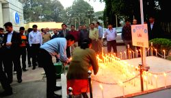 SBI workers pray for the recovery of Lance Naik Hanumanthappa Koppad who is struggling for life after miracle survivor at Siachen in Guwahati, on Feb 10, 2016.
