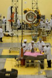 Scientists and Engineers works on a ``Mars Orbiter Mission`` at the ISRO, picture taken during a press conference in Bangalore on Sept. 11, 2013.