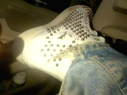 Shah Rukh Khan shows off his lethal shoes.