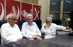 Socialist Unity Centre of India (Communist) [SUCI(C)] General Secretary Provash Ghosh and CPI(M) General Secretary Prakash Karat with Left Front Chairman Biman Bose during a meeting in Kolkata, on ...