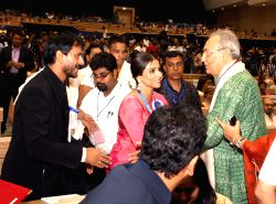 Soumitra Chatterjee Vidya Balan and Girish Kulkarni at the ''59 National Film Awards'', in New Delhi on Thursday 03 May 2012.
