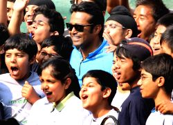 "Sports legends Leander Paes  at the ""Fit India Come N' Play Day"" event,in New Delhi on Sunday."