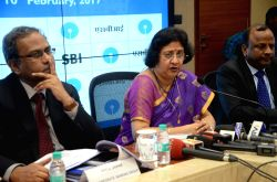 State Bank of India Chairman Arundhati Bhattacharya announces the Financial Results for for the quarter ended December 31, 2016 at SBI Headquarters in Mumbai, on Feb 10, 2017. The ...