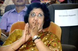 State Bank of India Chairperson Arundhati Bhattacharya during NABARD National Symposium on Mitigating Agrarian Distress and Enhancing Farm Income, in Mumbai on July 12, 2015.