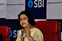 State Bank of India (SBI) Chairman Arundhati Bhattacharya at a press meet during the launch of State Bank Institute of Management in Kolkata on Sep 23, 2017.