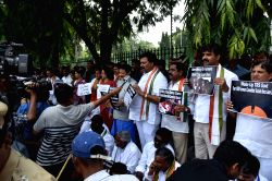 Suspended Congress, TDP, BJP and the Left legislators demonstrate outside Telangana Legislative Assembly in Hyderabad on Oct 5, 2015.