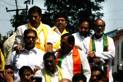 TDP and BJP leaders stage a demonstration against Telangana government in Hyderabad, on Oct 13, 2015.