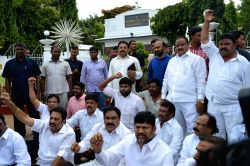 TDP legislators stage a demonstration at Raj Bhawan in Hyderabad on July 21, 2015.
