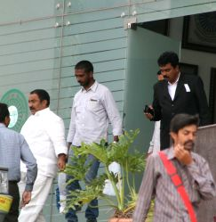 TDP MLA Sandra Venkata Veeraiah leaves after interrogation by anti-corruption authorities at the Anti-Corruption Bureau (ACB) office in connection with cash-for-vote scam in Hyderabad on ...