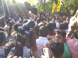 TDP workers gathers outside the Cherlapally Central Jail to welcome TDP MLA Revanth Reddy after he get bail by the Hyderabad High Court in the cash-for-vote case in Hyderabad on June 30, ...