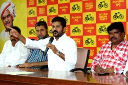 Telangana TDP working president A. Revanth Reddy addresses a press conference in Hyderabad on June 29, 2017.