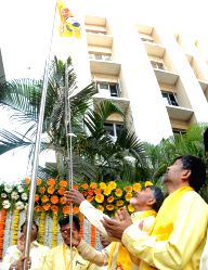 Telugu Desam Party Supremo and Andhra Pradesh Chief Minister N.Chandrababu Naidu during the party`s foundation day celebration in Hyderabad, on March 29, 2016.