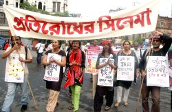 The activists of CPI-ML (Liberation) and AIPF take part in a rally and demand release of all political prisoners during `Hul Utsav` in Kolkata on June 30, 2015.