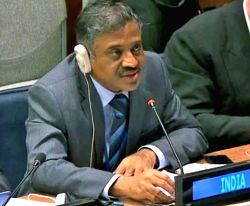 The Minister in India's UN Mission, Srinivas Prasad, speaks Monday, Oct. 9, 2017, at the United Nations General Assembly committee that deals with decolonisation. (Photo credit: UN/via IANS)