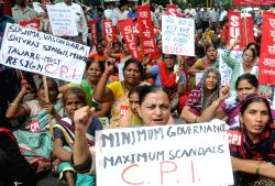 The SUCI and CPI activists stage a demonstration against Modi led Union Government in New Delhi, on July 20, 2015.