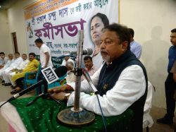 Trinamool Congress leader Mukul Roy addresses during a party rally in Barjala constituency of West Tripura on Oct 23, 2016.