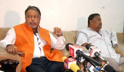 Trinamool Congress leader Mukul Roy addresses a press conference in Agartala on July 1, 2016.
