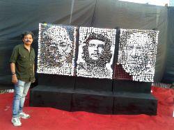 Triumvirate portrays revolutionaries who changed the world - by artist C. Ganacharya (Photo Credit: Mauli Buch)